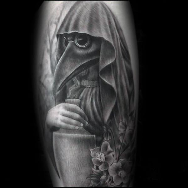 Arm Plague Doctor Tattoos For Gentlemen