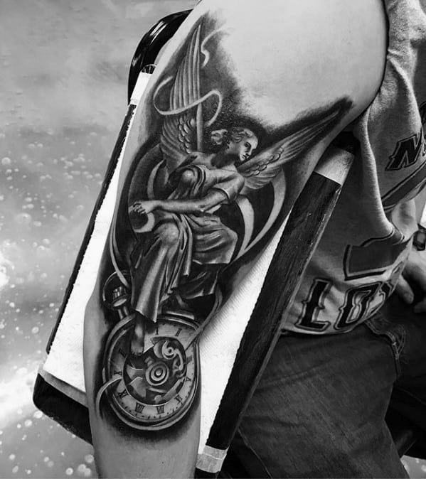 Arm Pocket Watch With Angel Statue Mens Tattoo Ideas