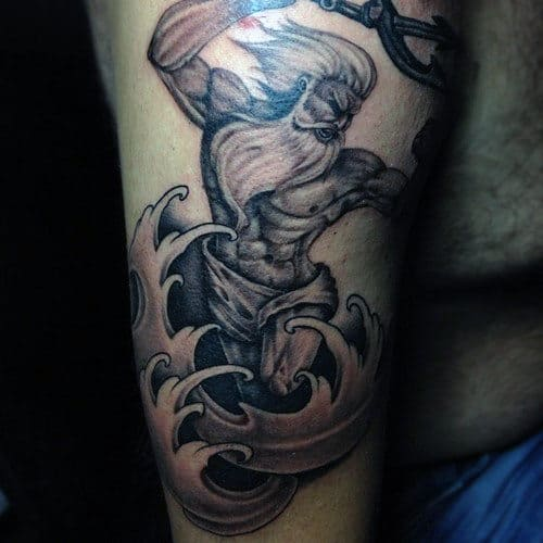 Arm Poseidon Greek God Tattoo Ideas For Guys