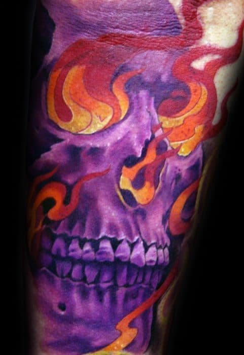 Arm Purple Flaming Skull Male Tattoo Designs