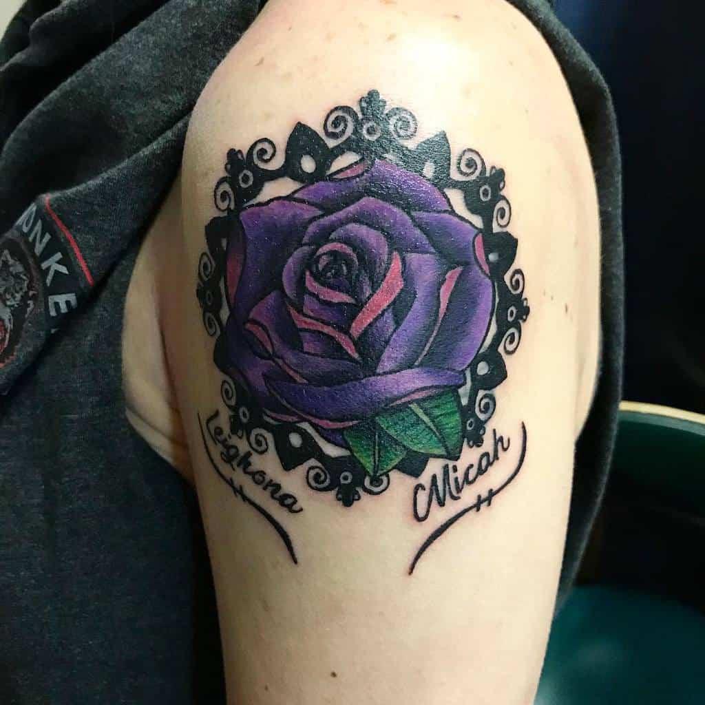 arm purple rose tattoos amandaholden86