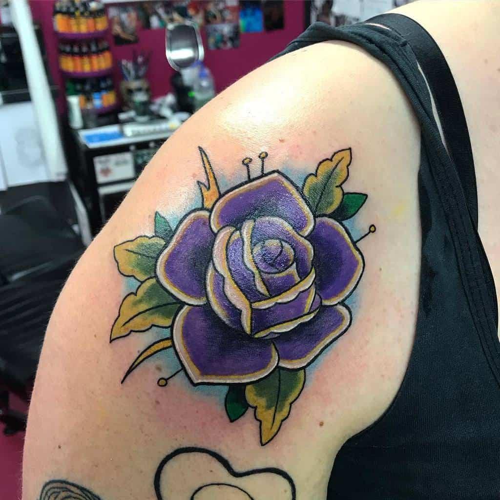 arm purple rose tattoos kitty_ink_kitkat