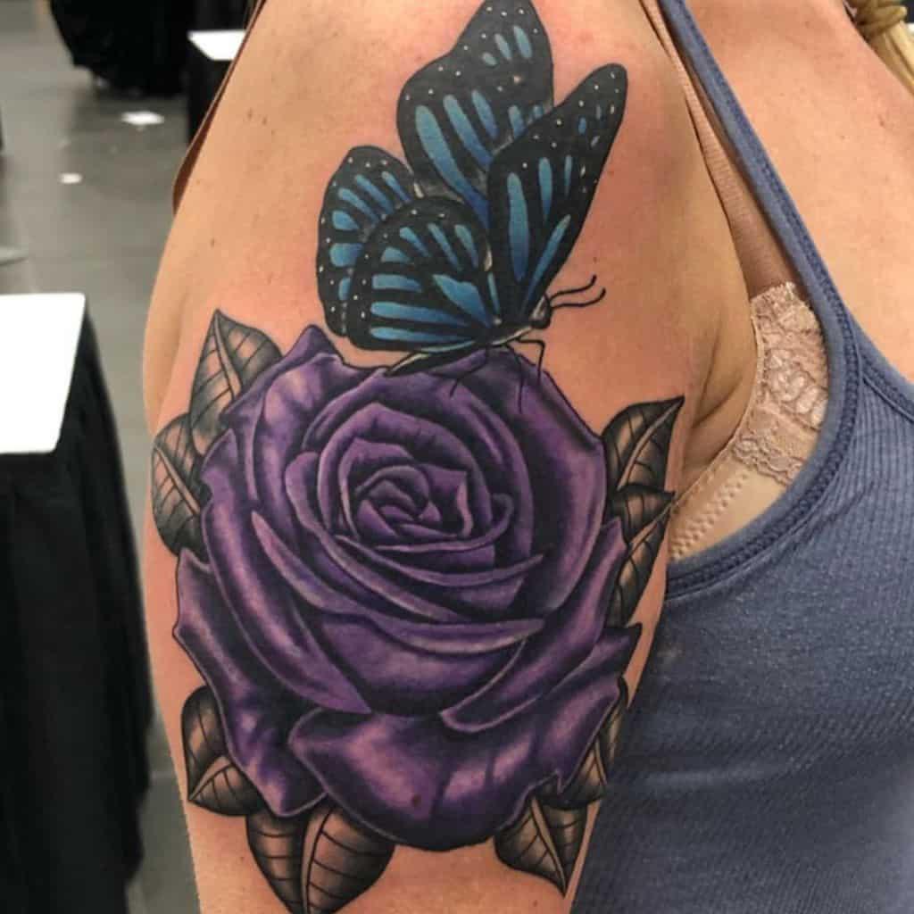 arm purple rose tattoos lil_e_909