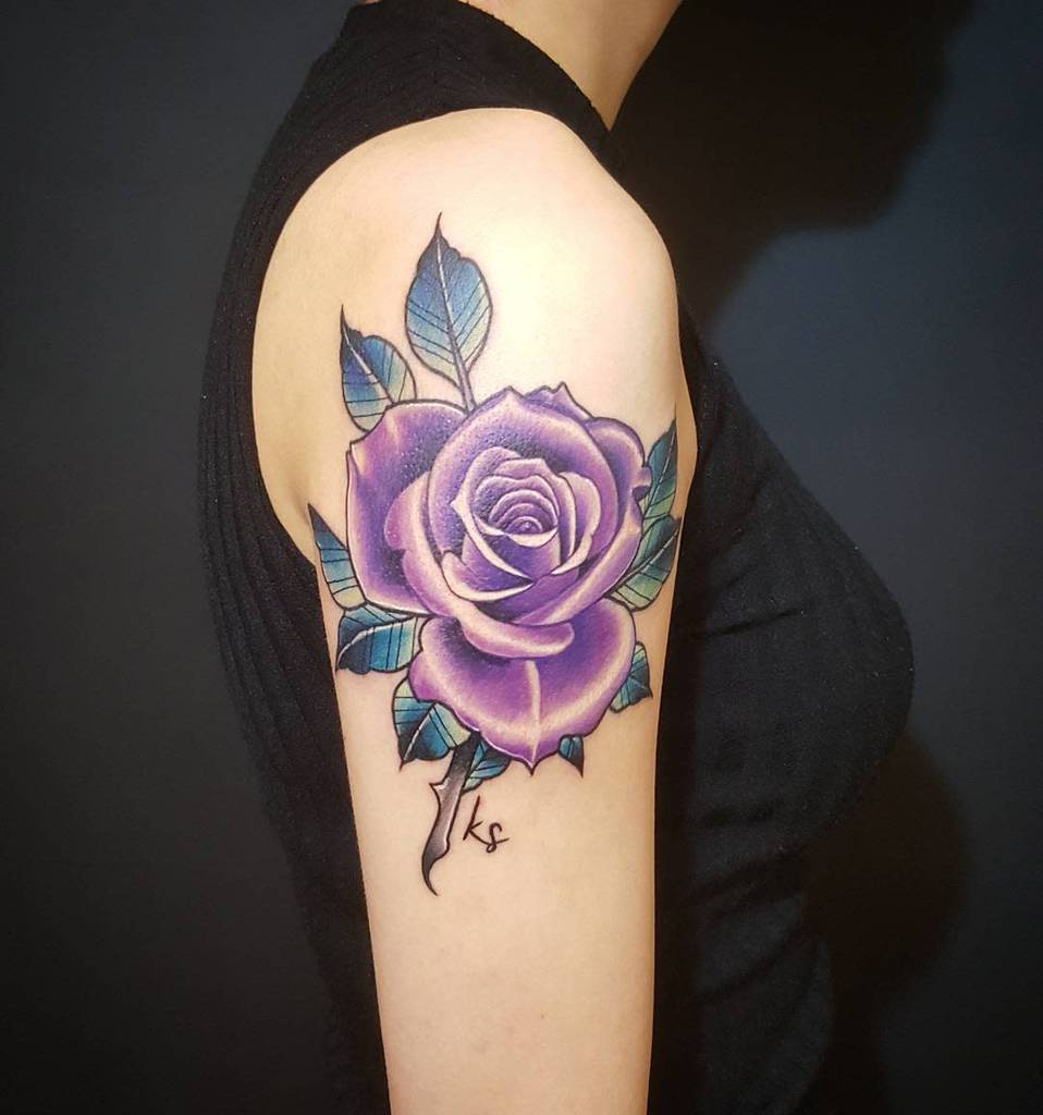 arm purple rose tattoos stiloallday