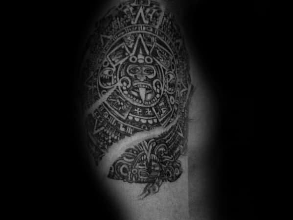 Arm Quarter Sleeve Mayan Calender Male Tattoos