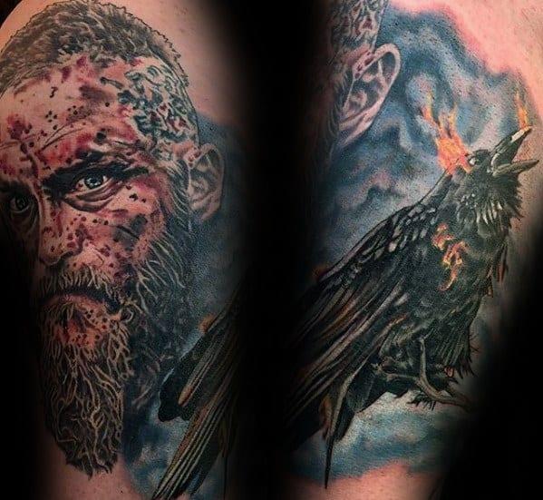 Arm Ragnar Tattoo Design On Man