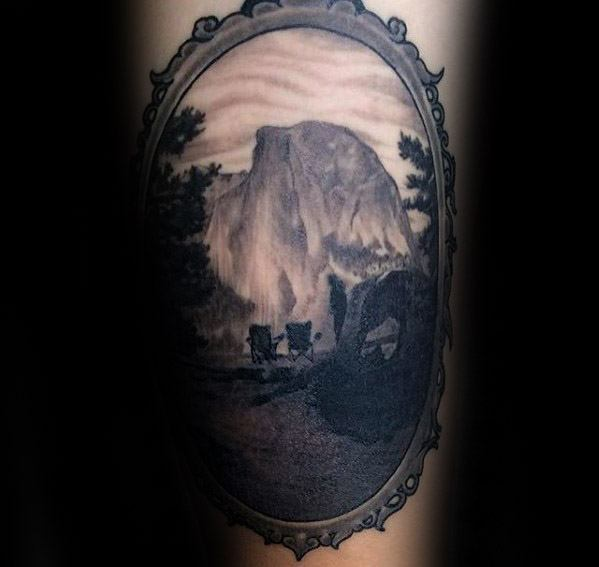 Arm Realistic Guys Camping Mirror Frame Tattoo Design Ideas