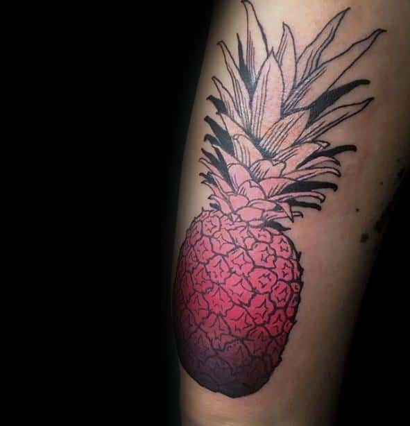 Arm Red And Black Ink Male Tattoo With Pineapple Design