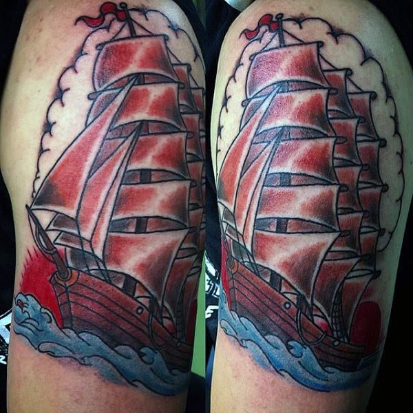 Arm Red And Blue Sailing Ship Male Tattoo