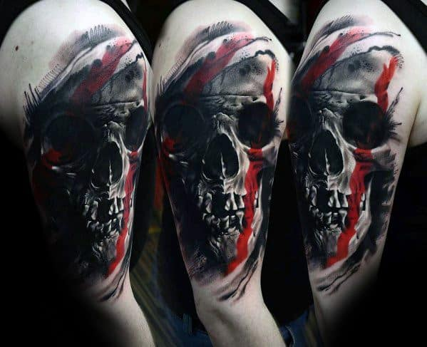 Arm Red And Grey Badass Skull Tattoo Ideas On Guys