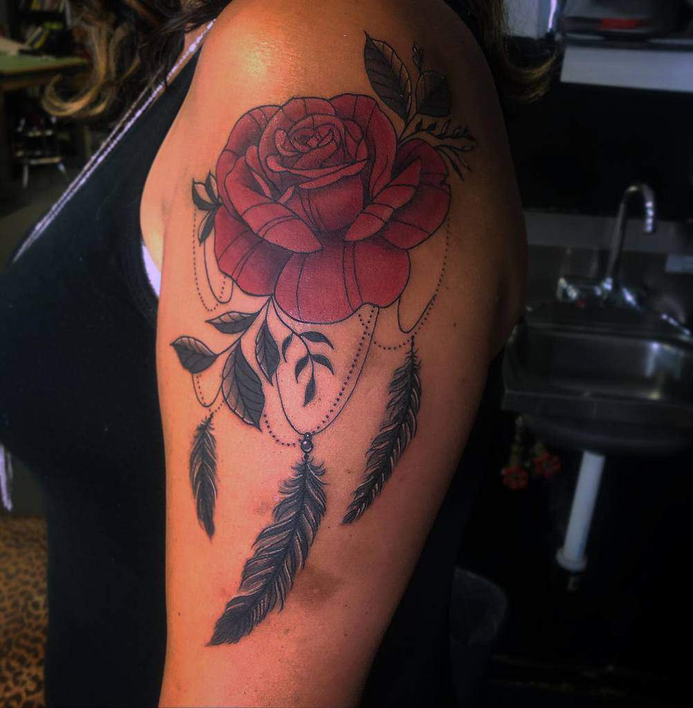 arm red rose tattoos graph_ink7
