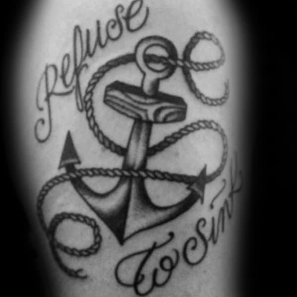 Arm Refuse To Sink Tattoo Designs For Guys