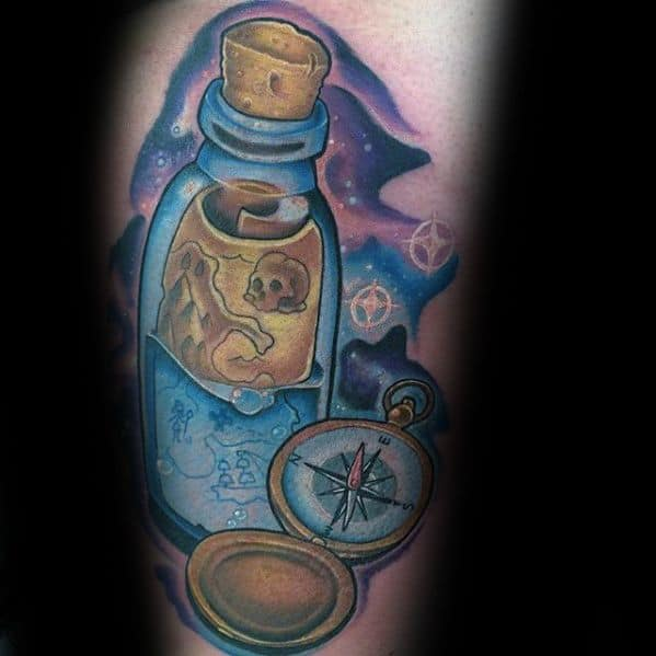 Arm Remarkable Message In A Bottle Tattoos For Males