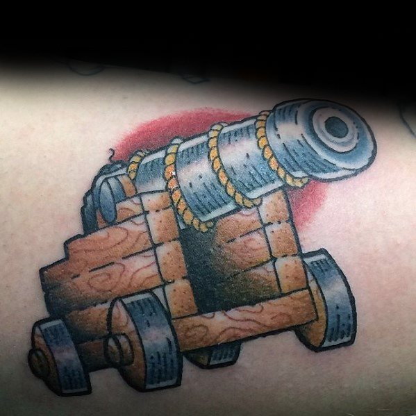 Arm Retro Inner Arm Gentleman With Cannon Tattoo