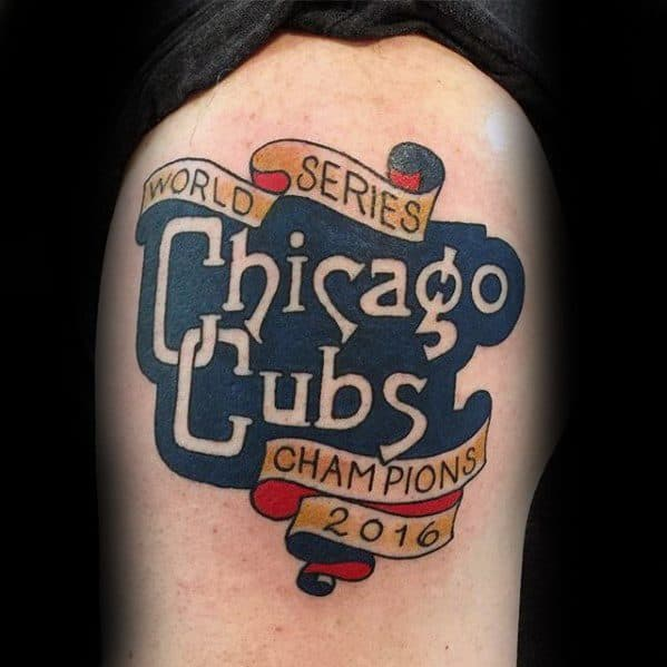 Arm Retro Logo Chicago Cubs Tattoo Designs For Males