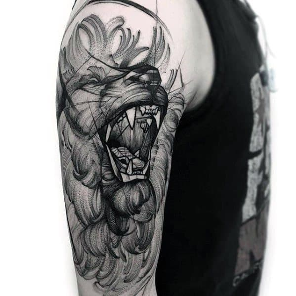 Arm Roaring Lion Mens Sketch Tattoo