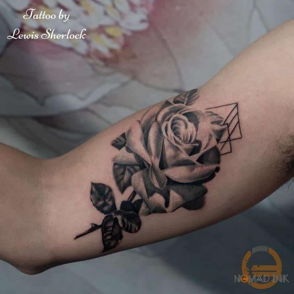 arm rose with stem tattoos nomad.inkart