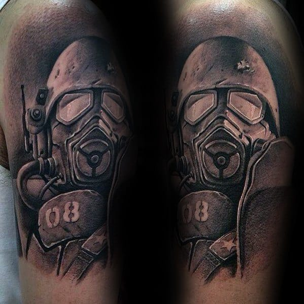 Arm Shaded Black And Grey Ink Fallout Male Tattoo