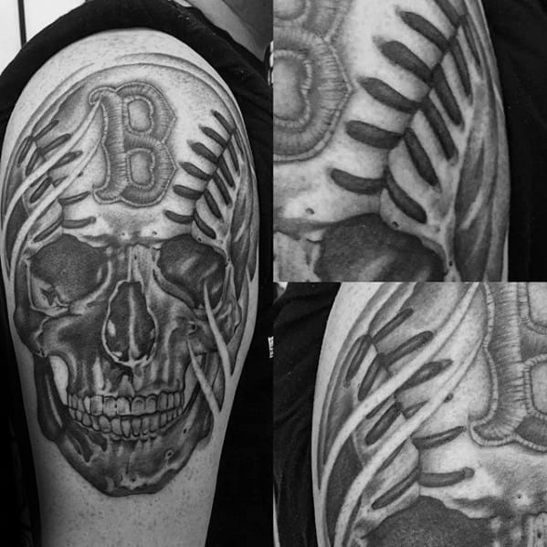 Arm Shaded Black And Grey Skull Baseball Boston Red Sox Male Tattoo Ideas