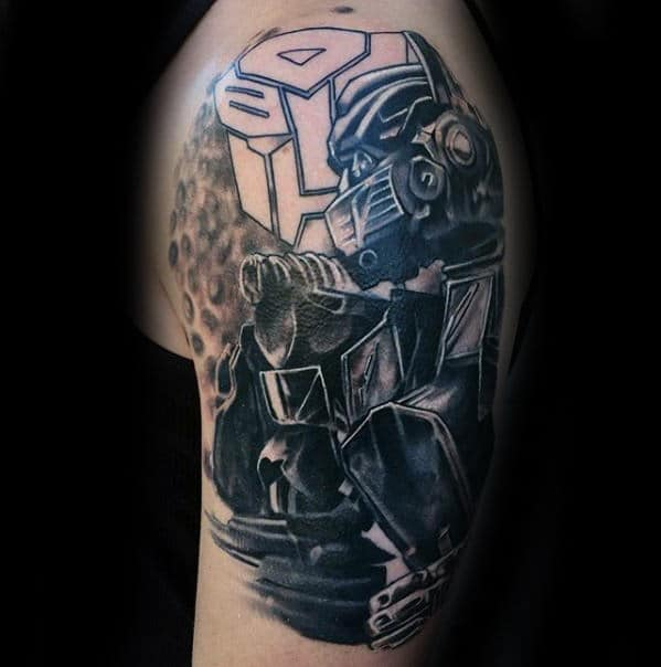 Arm Shaded Guys 3d Tattoo With Transformers Themed Design