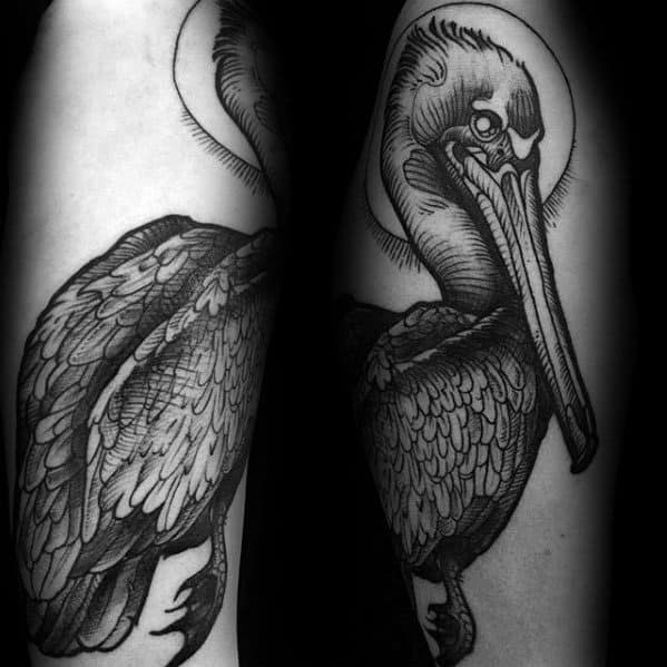 Arm Shaded Incredible Pelican Tattoos For Men
