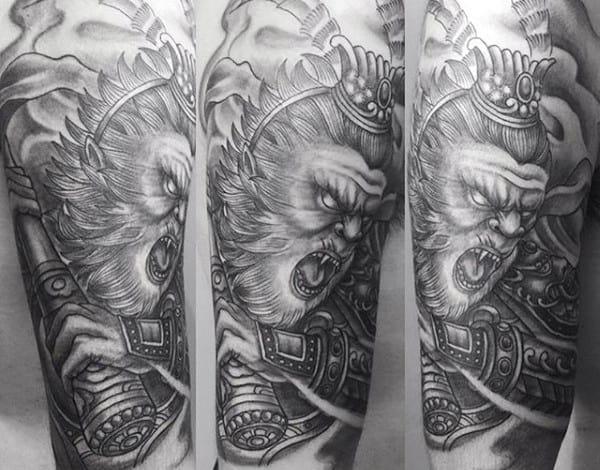 Arm Shaded Monkey King Male Tattoo Ideas