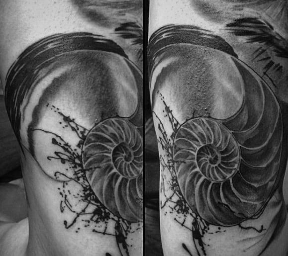 Arm Sharp Ammonite Male Tattoo Ideas