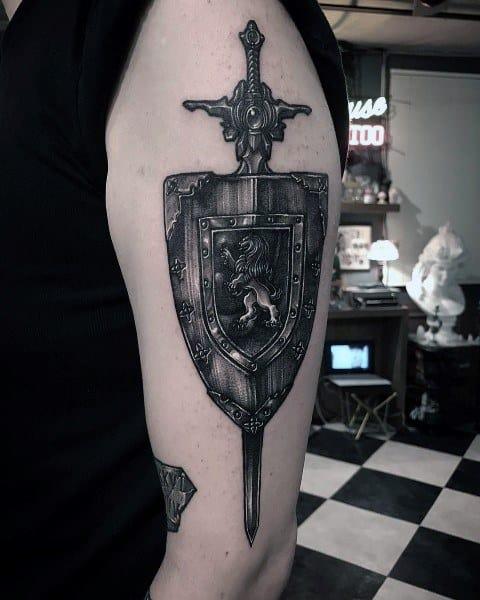 Arm Shield Sword Lion Male Tattoo