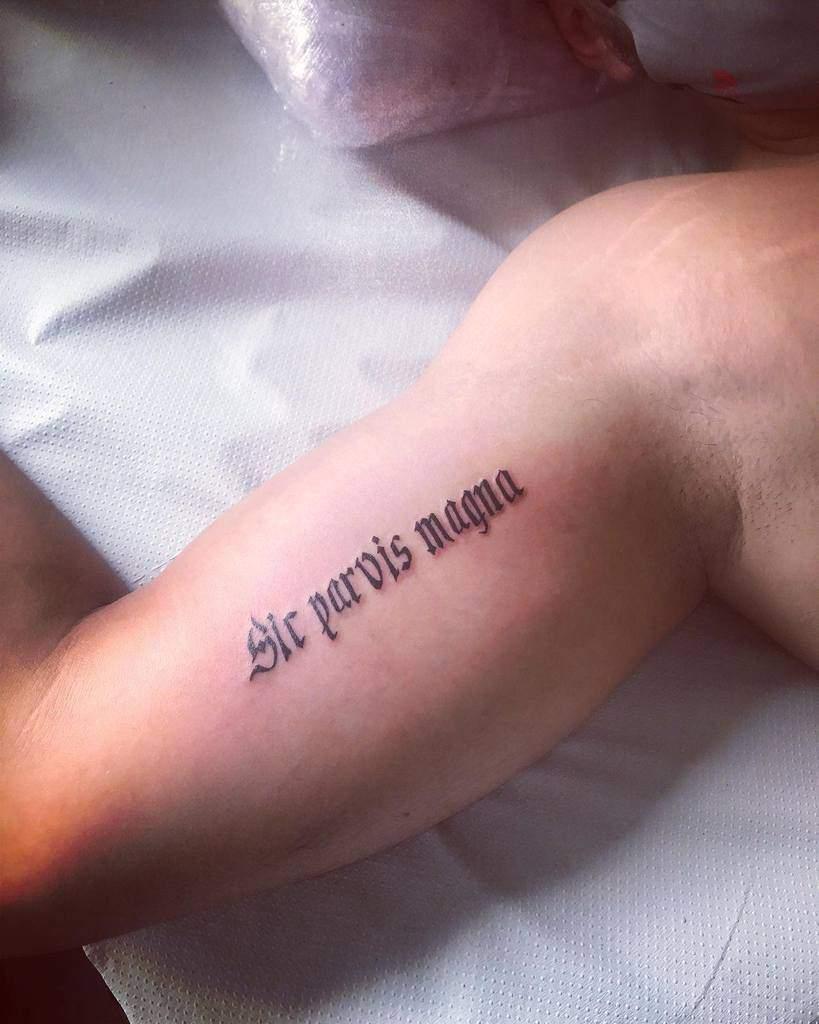 Arm Sic Parvis Magna Tattoosv Kalogatattoo