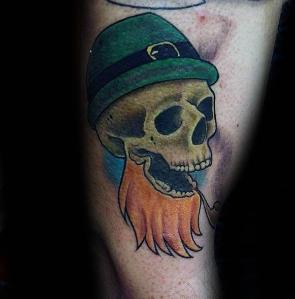 Arm Skull Leprechaun Tattoo Design On Man