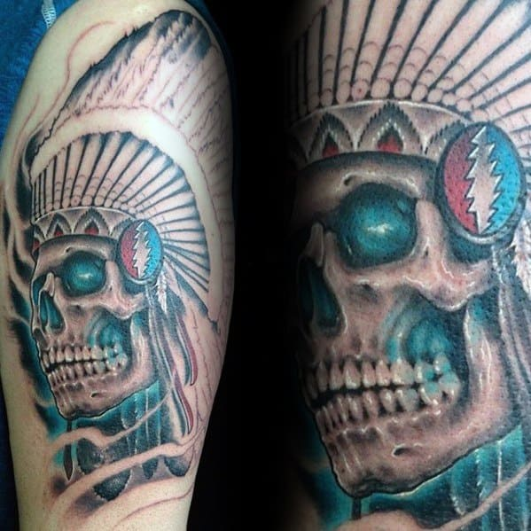 Arm Skull With Feather Head Grateful Dead Mens Tattoo Ideas