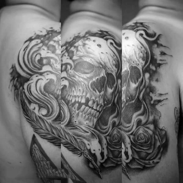 Arm Skull With Rose Flower And Quill Mens Tattoo Ideas