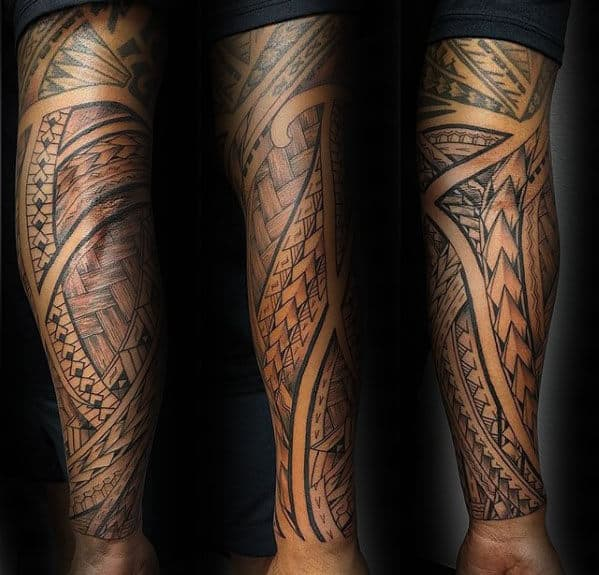 08c637317 40 Polynesian Sleeve Tattoo Designs For Men - Tribal Ink Ideas
