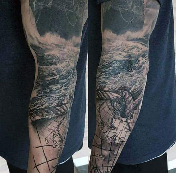 Arm Sleeve Guys Rope With Ocean Sea Nautical Themed Sleeve Tattoo