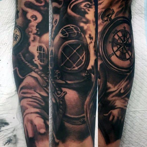 Arm Sleeve Heavily Shaded Black And Grey Ink Diving Helmet Male Tattoo Ideas