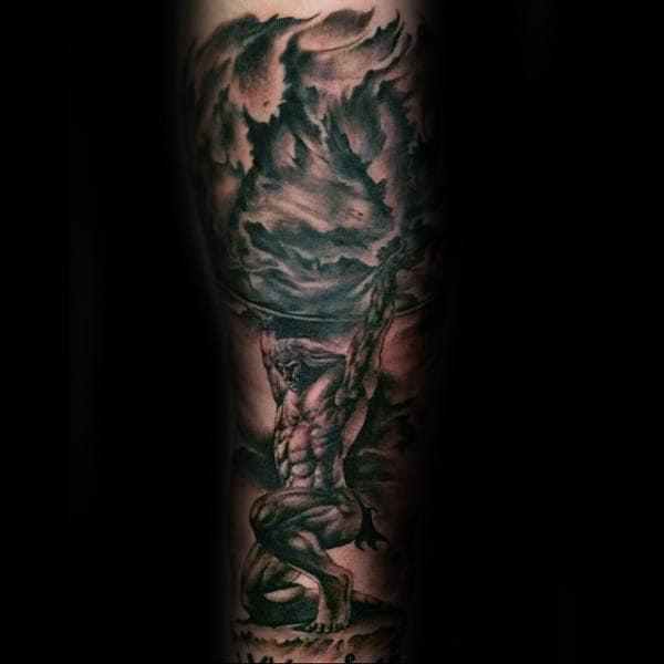 Arm Sleeve Male Atlas Tattoo Design Inspiration