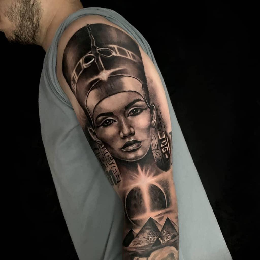 Arm Sleeve Nefertiti Tattoos Litohurtadoart