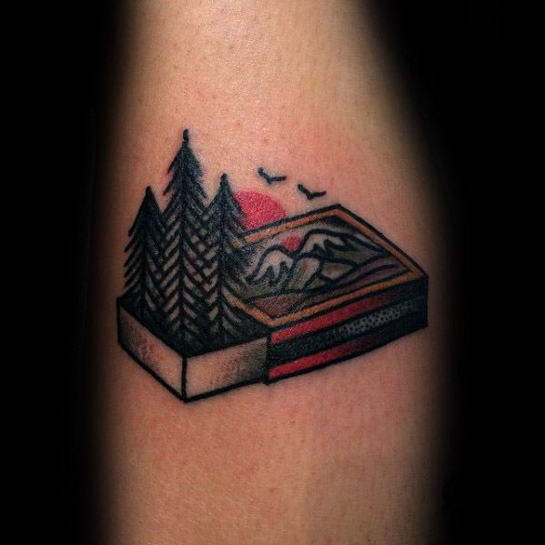 Arm Small Matchbox Pine Trees Camping Tattoo On Men