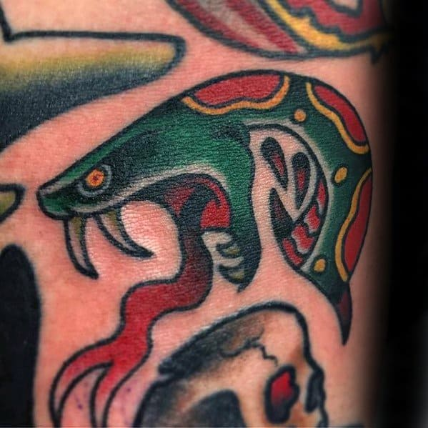 Arm Snake Head Filler Tattoo Designs For Males