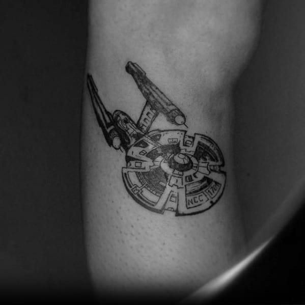 Arm Spaceship Manly Star Trek Tattoo Design Ideas For Men