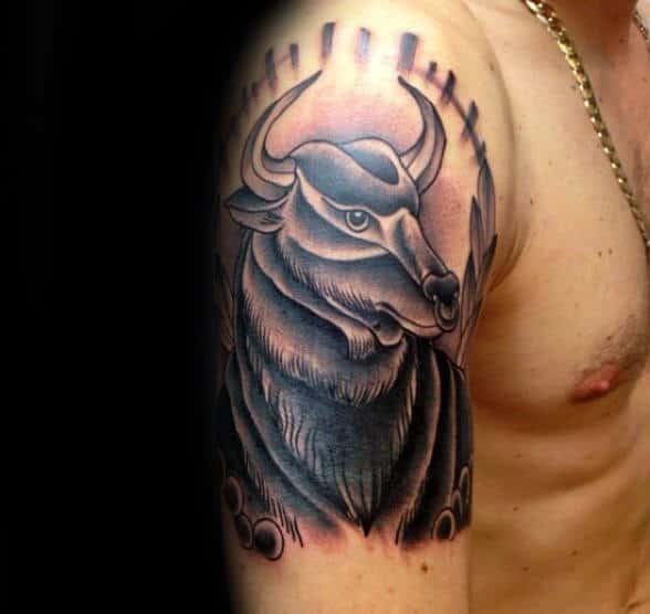 Arm Tattoo Of Bull Guys Taurus Tattoo Ideas