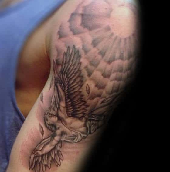 Arm Tattoo Of Icarus On Male