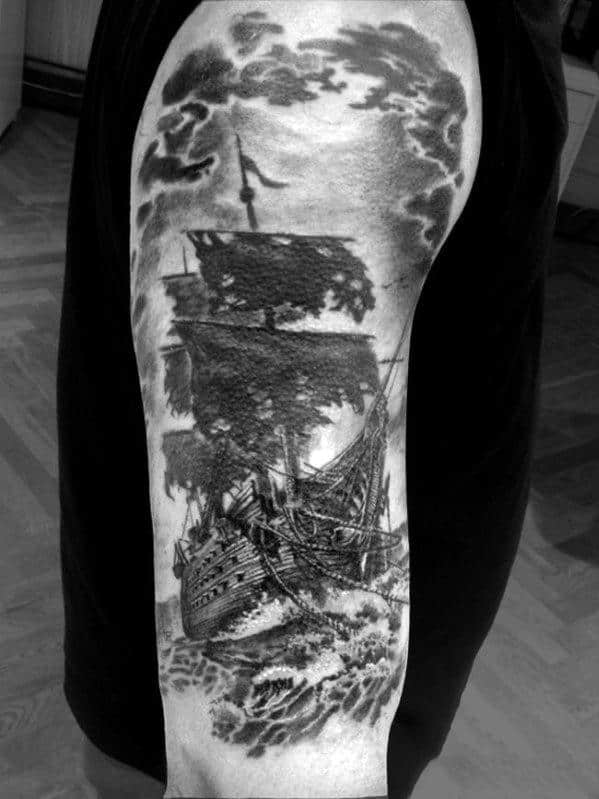 Ship Arm Tattoos For Men Half Sleeves