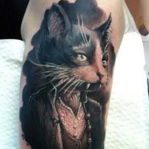 Arm Tattoos Of Vampires On Males With Cat Design