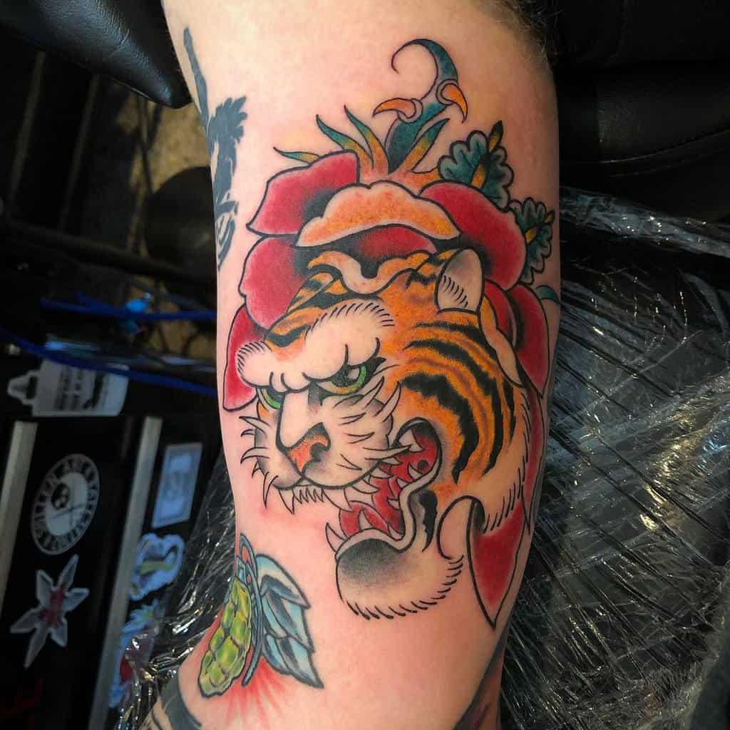 arm tiger rose tattoos beartats