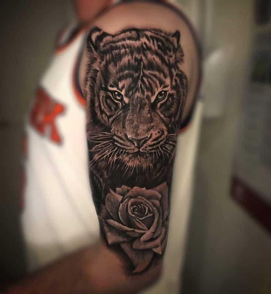 arm tiger rose tattoos brando__25