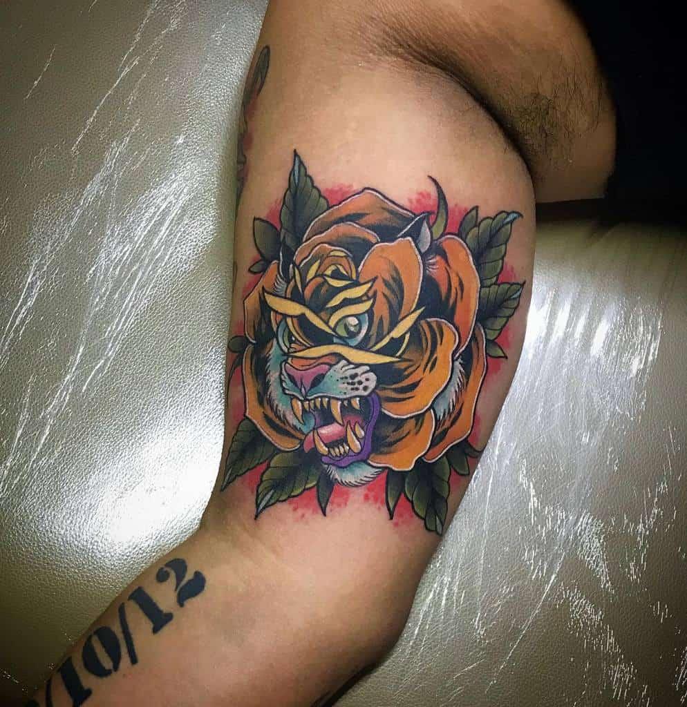 arm tiger rose tattoos molinartattoos