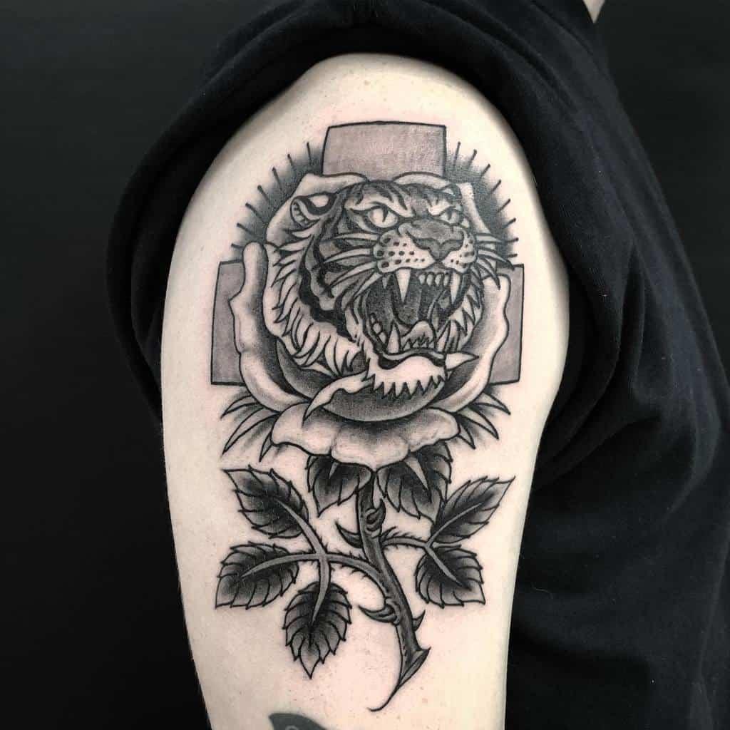 arm tiger rose tattoos tattoorupa