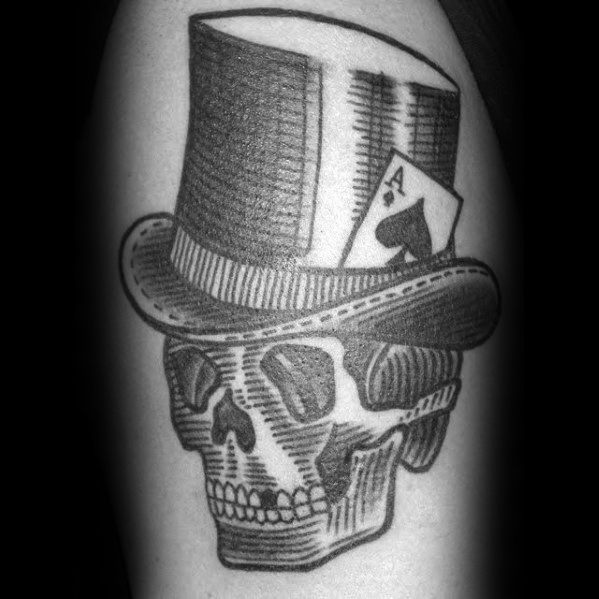Arm Top Hat With Skull And Ace Of Spades Card Guys Tattoo Ideas