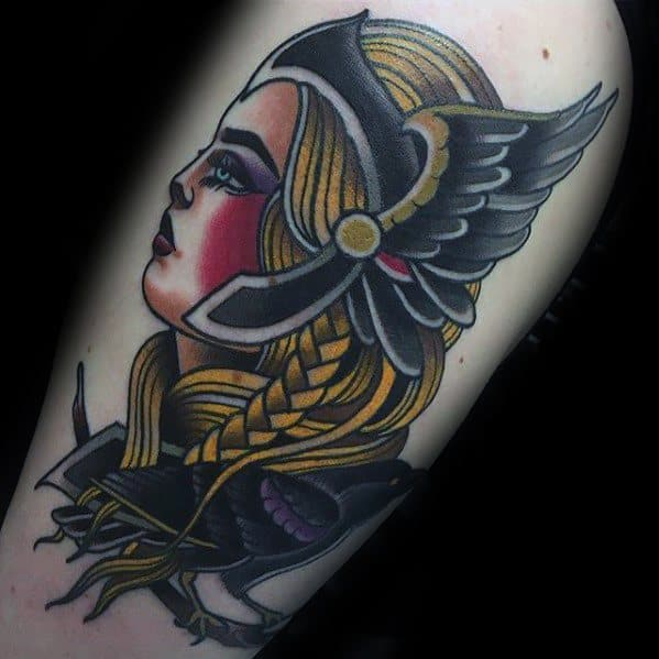 Arm Traditional Old School Valkyrie Tattoos Male